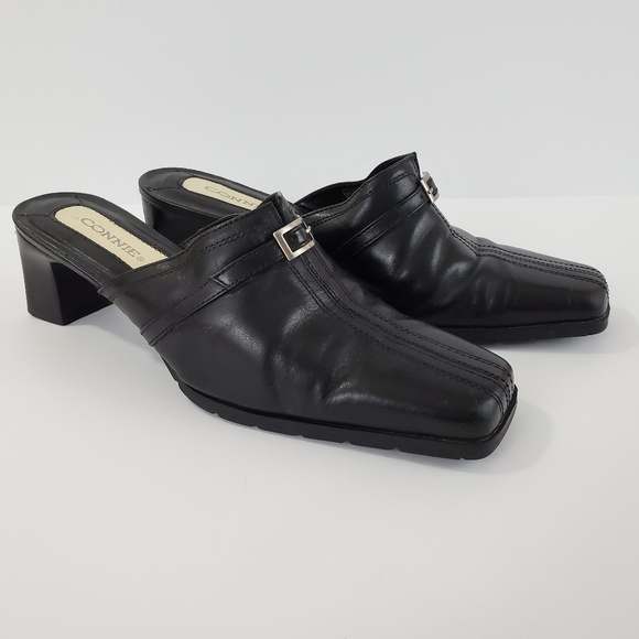 Connie Shoes - Connie Brand Derby Mules Black Leather Square Toe